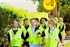 Youngsters walk to Alne Primary School and take part in a world record attempt