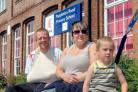 Four-year-old Jay.d Cameron with his mum, Jenni, and dad, Danny,        outside Poppleton Road Primary School