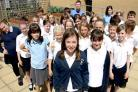 Rachael Strange with her classmates at Wigginton Primary School and teacher Dave Borlase