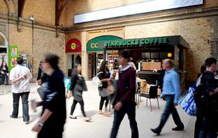 The Starbucks coffee  shop at York Station