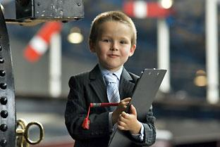 Seven-year-old Sam Pointon, who is director of fun at the National Railway Museum in York