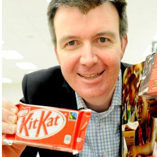 David Rennie, managing director of Nestlé Confectionery, launches the Fairtrade Kit Kat at the Co-op supermarket in Hull Road, York, earlier this year