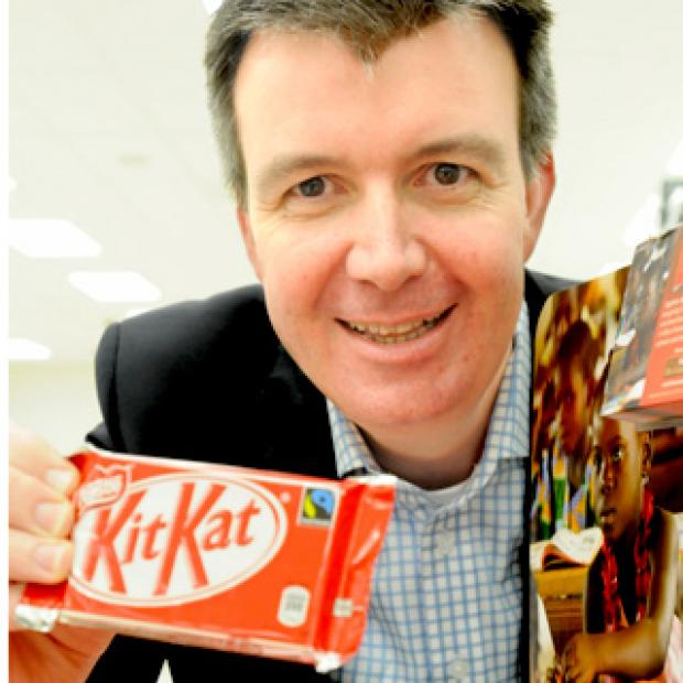 York Press: David Rennie, managing director of Nestlé Confectionery, launches the Fairtrade Kit Kat at the Co-op supermarket in Hull Road, York, earlier this year