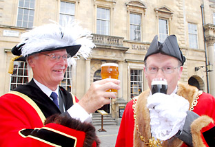 Graeme Robertson, master of the Guild of Scriveners and Richard Watson, Sheriff of York, get their tastebuds ready for the Assize of Ale