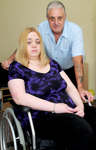 Micheala Dykes, of Haxby, who sufferers from multiple sclerosis, had to wait more than five hours for an ambulance to take her home after treatment at York Hospital, with her dad, Sandy