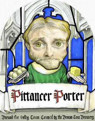 The label on  Pittancer's Porter, brewed by the Brown Cow Brewery at Barlow, which depicts Selby's medieval pittancer