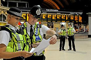 Section Officer Jayne Seales and Sgt Matt Popple take part in the drugs crackdown at York station