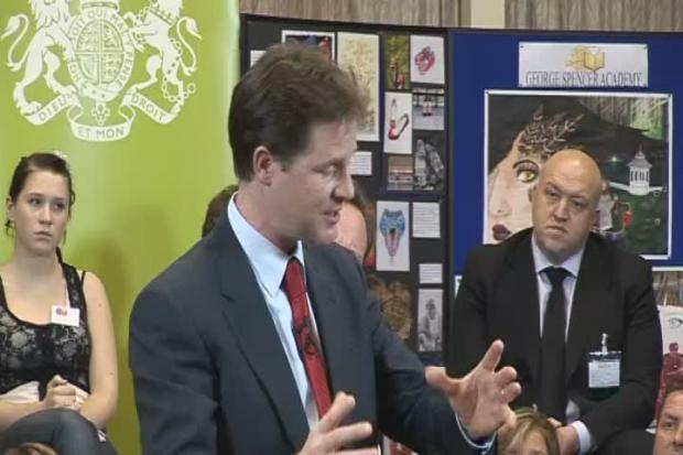 Clips from Nick Clegg and David Cameron at George Spencer School in Nottingham - talking about budget cuts.