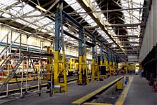 An almost-deserted rail workshop in York