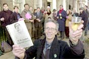 Hugh Bernays (foreground) and members of the WH Auden Society celebrates the 96th Anniversary of the poet's birth at 54 Bootham in 2003