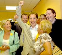 Nigel Ayre is congratulated by fellow Liberal Democrats