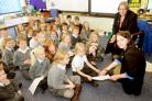 Rachel Gladwin, Huntington Primary School's head for the day, working with pupils