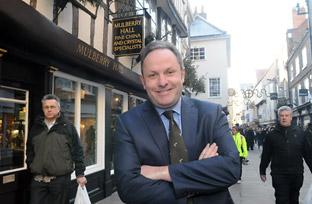 Adam Sinclair outside Mulberry Hall in Stonegate, York