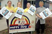Manager Gemma Cobb, right, with nursery nurses, from left, Louise Stanton, Sam Harding and Emma Wallis with the charity calendars