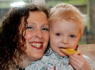 Jamie Inglis enjoys baked beans on toast for breakfast with his mum, Vicky