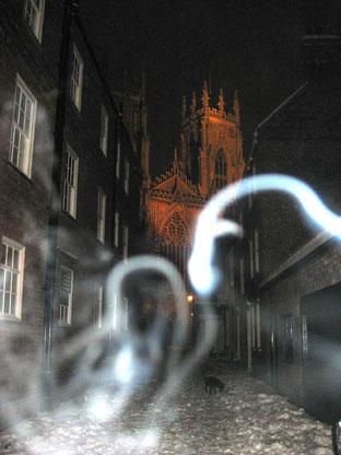 A 'ghostly face' on this photograph of Precentor's Court