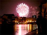 Spectators watch Bonfire Night fireworks from The Esplanade on the banks of the River Ouse in York