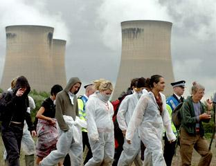 Eco-protesters at Drax power station in 2006