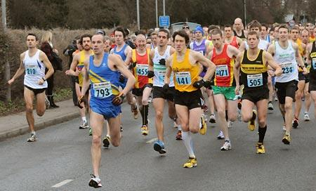 Ryedale runner Darren Bilton (number 793) leads the field at the start of the Brass Monkey Half Marathon