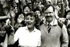 Margaret Barker, head of Derwent Secondary School, and Ronald Binns, the former head, with pupils at a farewell picnic, pictured in 1985