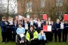 Special constable and teacher Rachel Malster-Hinett with Hob Moor School pupils