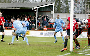 Jonathan Smith scores York City's opening goal. Picture: Max Flego