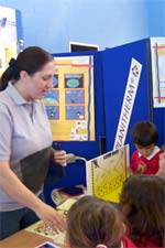 Youngsters learn about glass-making at the Stem Fair, at Riccall