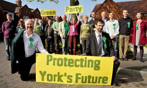 Councillors Dave Taylor, left, and Andy D'Agorne with Green Party workers at the launch of their York manifesto