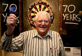 Farmer Eric Sleightholme, pictured at the Ebor in Bishopthorpe, is celebrating 70 years of playing darts in the York area