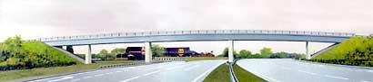 An artist's impression of what the A64 will look like at Bilbrough Top with the new flyover