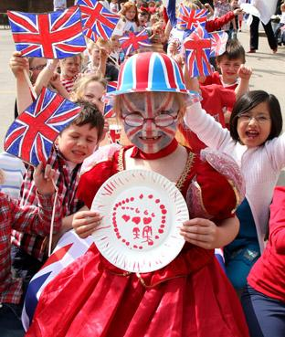 Pupils at St George's school celebrate the Royal Wedding with a street party.