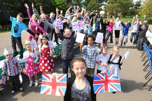 Thornton Le Dale school pupils enjoy a street party.