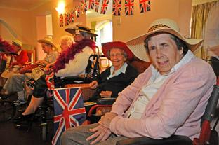 Residents and staff at the Birchlands Care Home in Haxby celebrate the Royal wedding