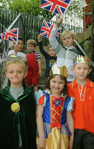 Youngsters joining in the Royal Wedding celebrations, during the garden party at Tadcaster Social Club.