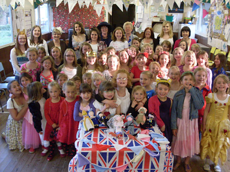 Osbaldwick & Murton Brownie pack enjoy their royal wedding party, complete with knitted figures of the royal family