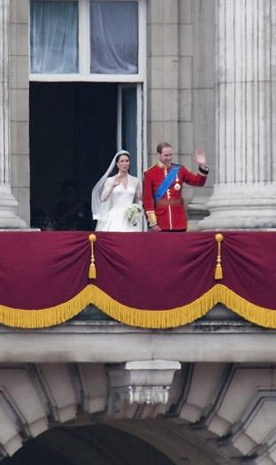 The Duke and Duchess of Cambridge appearing on the balcony of Buckingham Palace after their return from Westminster Abbey. Picture: Robert Nemeti