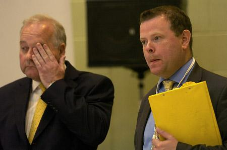 Lib Dems Steve Galloway and Andrew Waller realise they are about to lose power as the votes are counted in the City of York Council elections