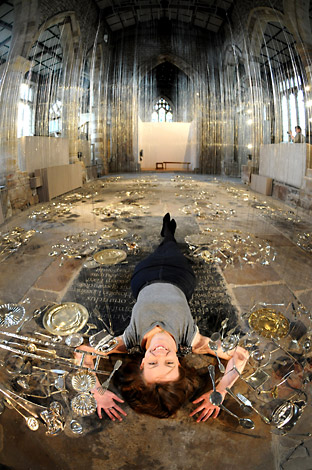 Jennifer Alexander helps promote the 30 Pieces Of Silver art installation at St Mary's Church