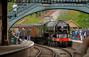 Tornado pulls into Pickering Station after being delayed by the theft of cable from the line