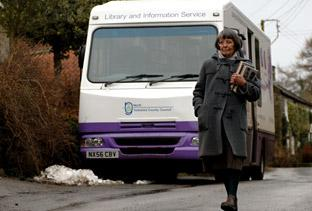 A villager in Thorgill heads home after visting a North Yorkshire County Council mobile library