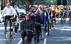 Cyclists leave a special  service at York Minster