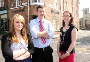 Harrowells new apprentices Sophie Elliott and James Manning, with Catherine Kew-Robson, head of HR