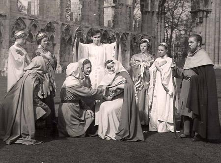 Dame Judi Dench, second right, plays an angel in the York Mystery Plays in 1951