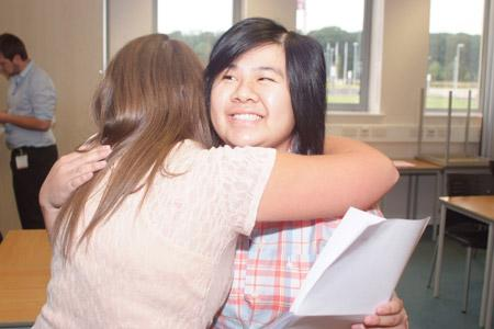 Selby College students celebrate their A-level results.