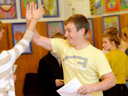 Ben Holtby celebrtates his A level results at Malton School.