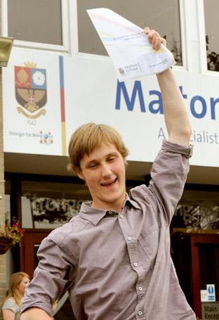 A Malton School student celebrates his A-level results.