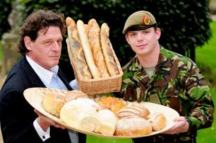 Celebrity chef Marco  Pierre-White and soldier Kingsman Madine use their loaf to raise             awareness of a scheme to launch  a veterans' bakery  in Catterick