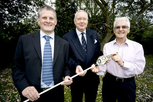 From left, Dr Paul Clark, Alban Davies and Prof Brian Hoyle
