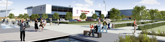 York Press: Artist's impression of the community stadium development at Monk's Cross York