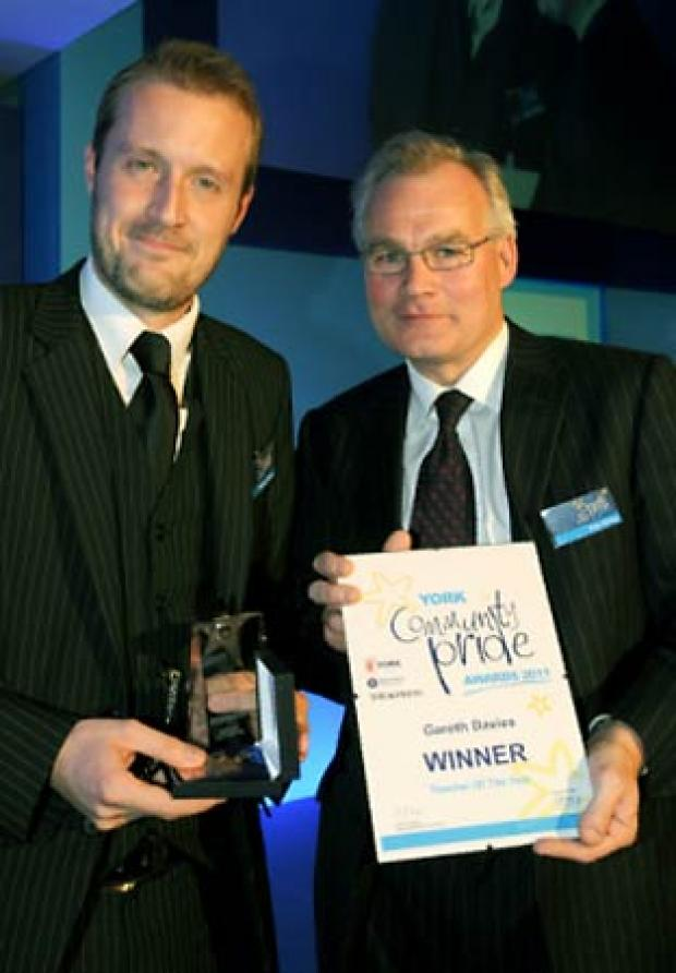 Gareth Davies, left, of Millthorpe School, with Peter Emery of sponsor Drax Power